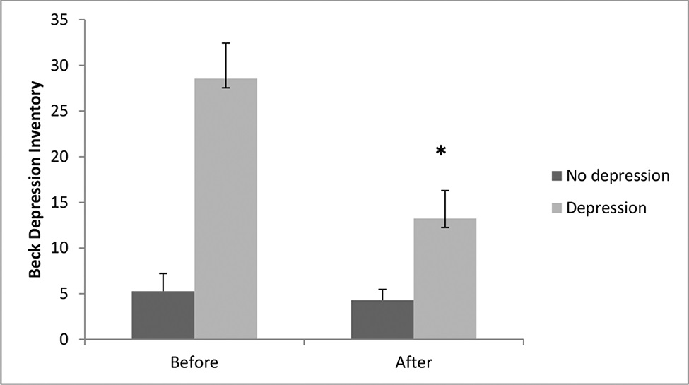 Comparison between depression levels before and after the aquatic exercise program. Data are expressed as the means ± standard errors of the mean. The χ2 test for nonparametric analyses was also used, followed by the Bonferroni post hoc test. The symbol (*) indicates intragroup significant differences (p<0.05).