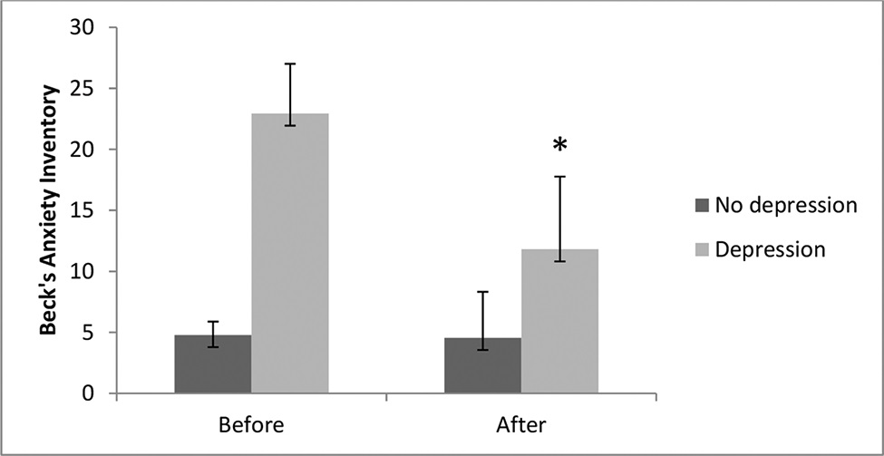 Comparison between anxiety levels before and after the aquatic exercise program. Data are expressed as the means ± standard errors of the mean. The χ2 test for nonparametric analyses was also used, followed by the Bonferroni post hoc test. The symbol (*) indicates intragroup significant differences (p <0.05).