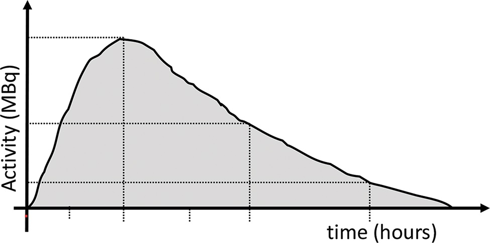 Time-activity curve: activity was quantified in consecutive images after drawing a region of interest (ROI) in the organ. The area under the curve corresponds to the accumulated activity (Ã), reflecting the total number of atoms that disintegrated in the region.