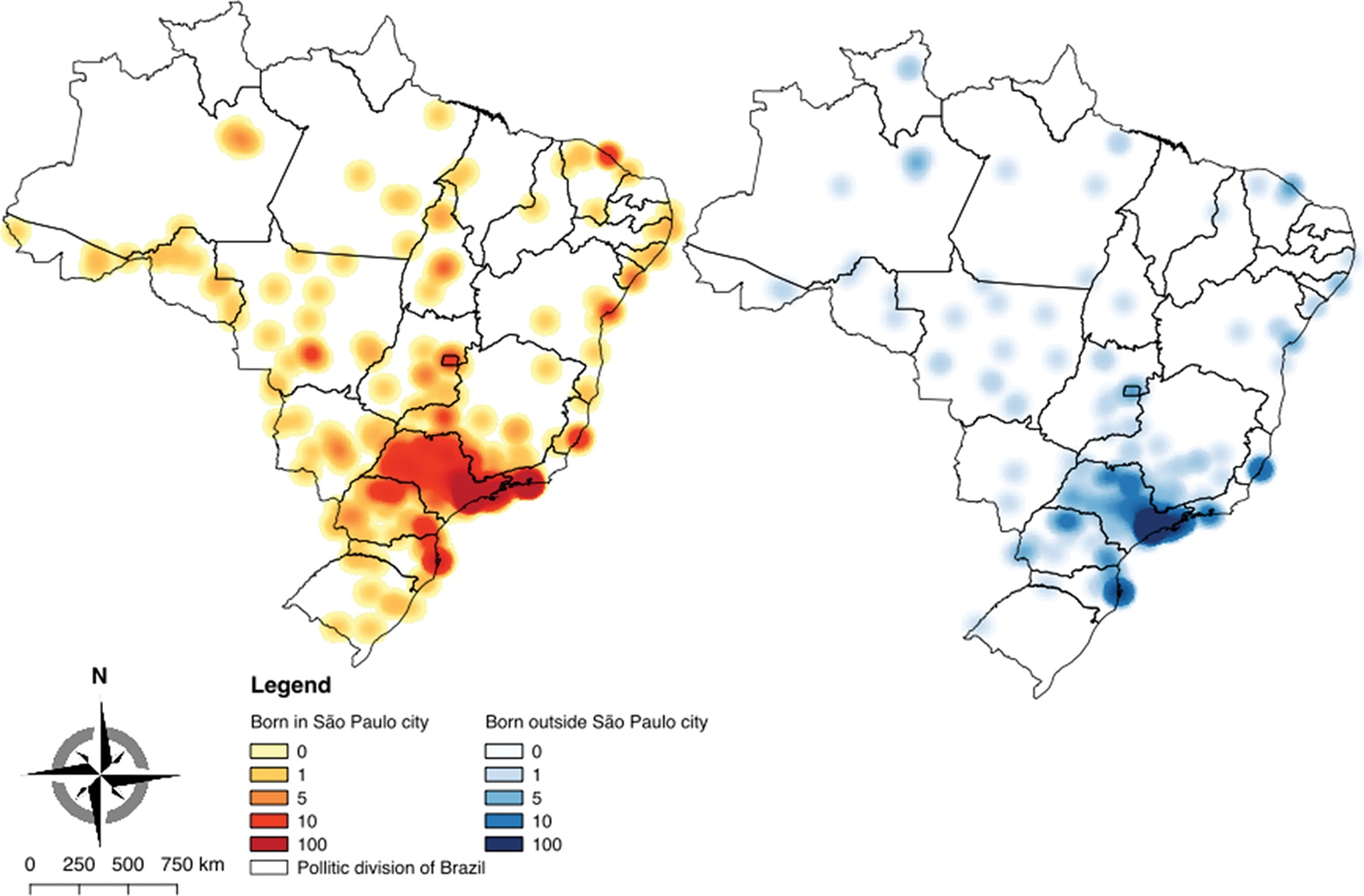Kernel maps showing the geographic distribution of physicians who graduated from FMUSP.