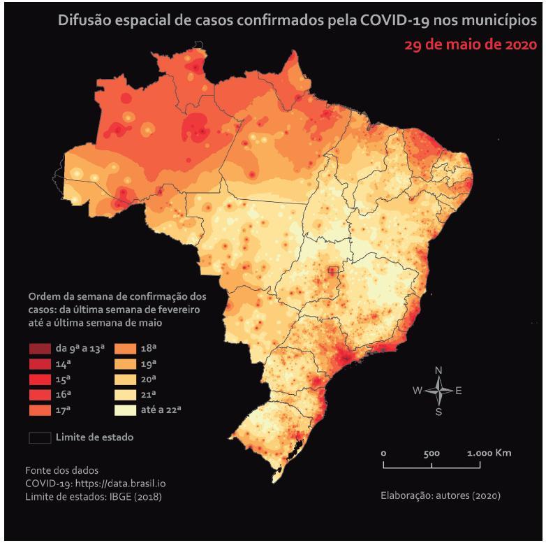 Difusão espacial no território brasileiro.