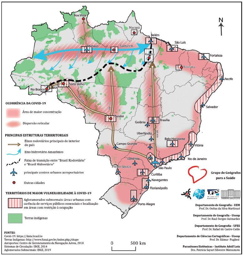 Principais estruturas territoriais brasileiras da Covid-19.