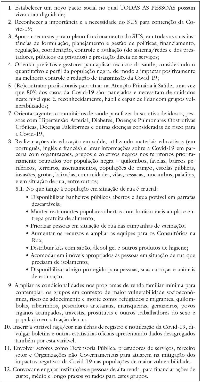 Recomendações para reduzir impactos negativos da Covid-19 em grupos vulnerabilizados propostas pelo GT Racismo e Saúde da Abrasco, 2020