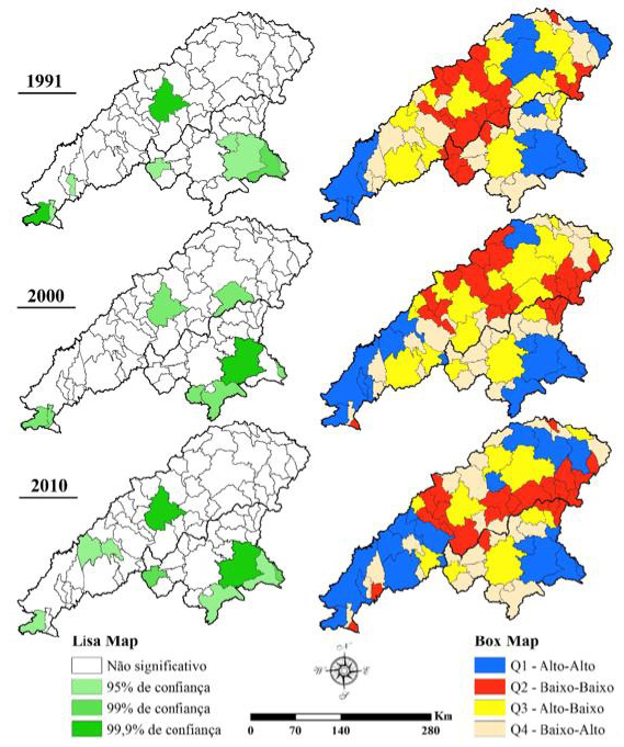 Lisa map e Box map - autocorrelação espacial para renda per capita média nos vales do Jequitinhonha e Mucuri