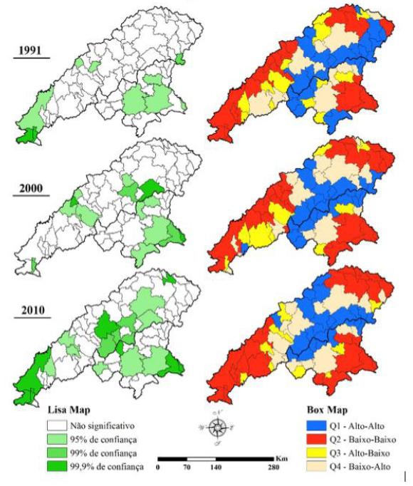 Lisa map e Box map - autocorrelação espacial para proporção de extremamente pobres nos vales do Jequitinhonha e Mucuri