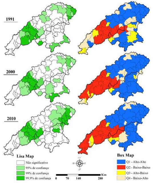 Lisa map e Box map - autocorrelação espacial para taxa de envelhecimento populacional nos vales do Jequitinhonha e Mucuri