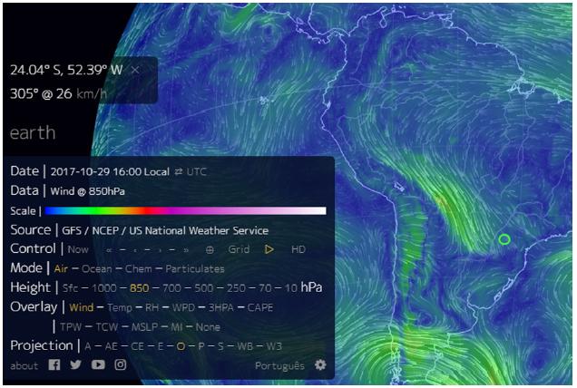 Recorte da imagem NOAA com as correntes de ar em 850 hPa em 29/10/2017, às 16h (hora local). A região de Campo Mourão foi assinalada com círculo. A imagem mostra que o jato de baixo nível está intensificado