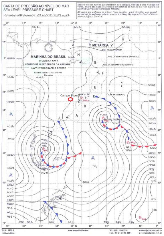 Carta sinótica da Marinha do Brasil do dia 29/10/2017, 12h (TMG). No interior do Sul do Brasil, domina baixa pressão atmosférica