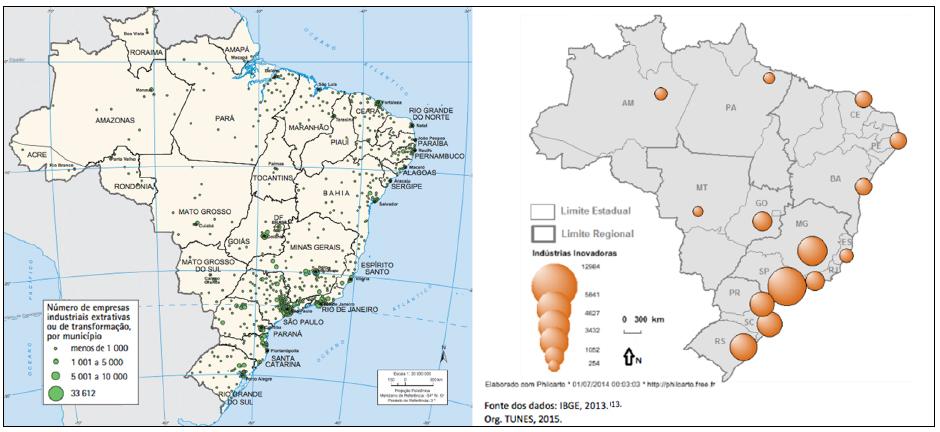 -Brasil: (A) empresas industriais (2016) e (B) distribuição concentrada das atividades intensivas em conhecimento por estado em 2009-2011