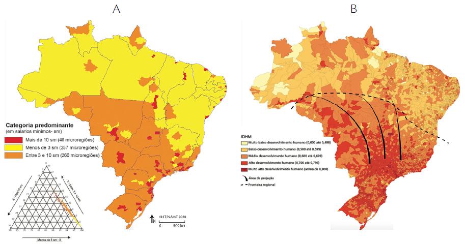 - Brasil: (A) valor do rendimento nominal médio mensal (2010) e (B) distribuição espacial do IDHM no território nacional (2010)