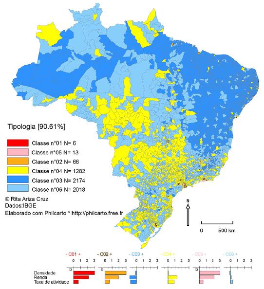 - Brasil: renda média mensal, PEA e rede viária (federal e estadual), tipologia