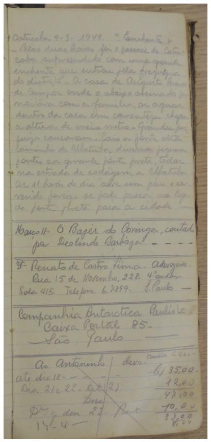 página do caderno de Benedicto de Souza Pinto.