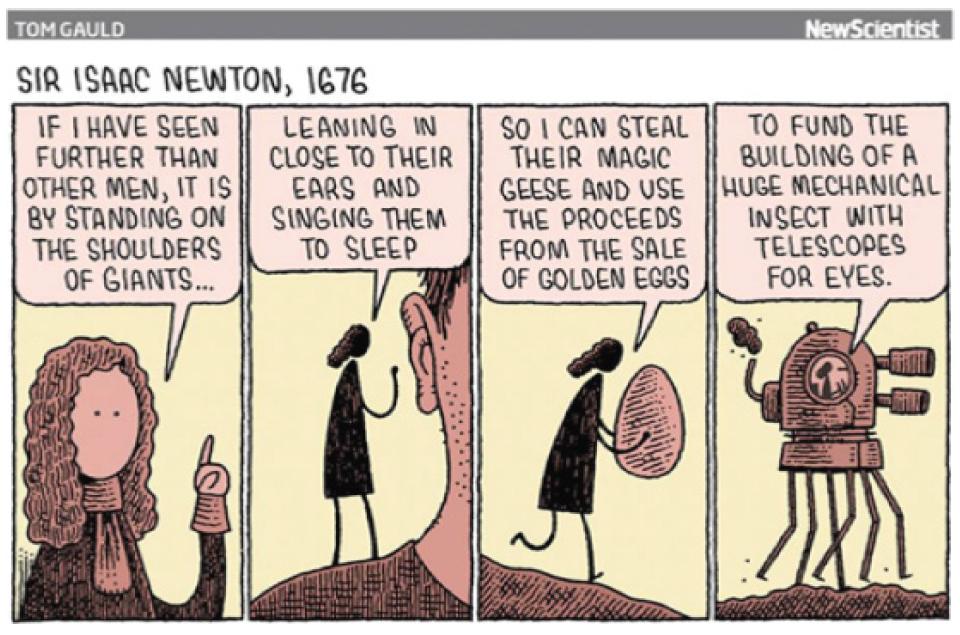Cartoon publicado pela New Scientist no Facebook e segundo post mais curtido durante o período de arquivamento
