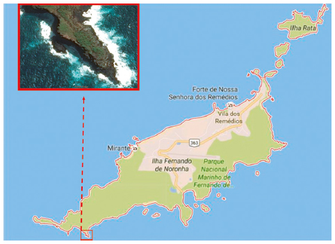 """Map of Fernando de Noronha Archipelago, highlighting the location of the breeding colony of Sula dactylatra, located at the end of the Capim-açu trail (03°52'49.38""""S; 32°27'29.47""""W). Unscaled. Source: © 2016 google maps."""