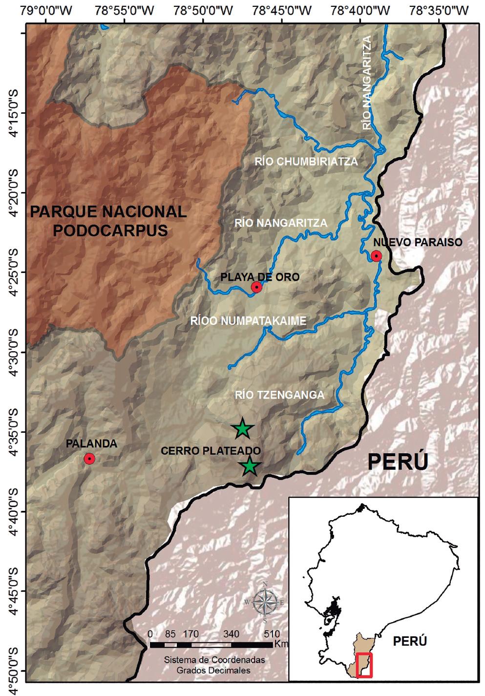 Localidades de registro de Pristimantis muranunka sp. nov., en la Cordillera del Cóndor.