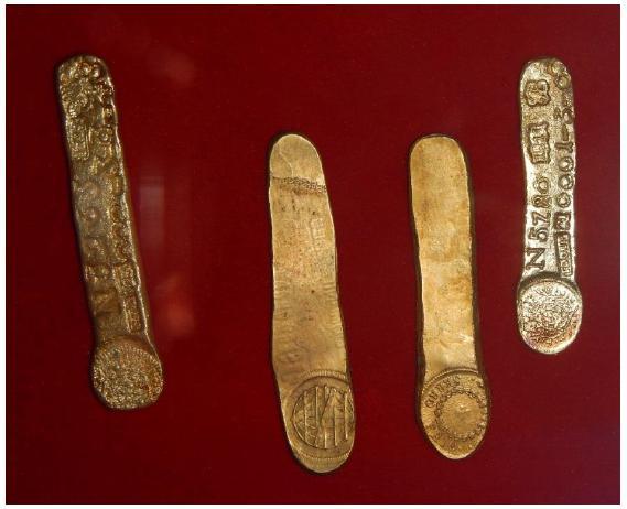 Lingotes de ouro no Museu Casa dos Contos
