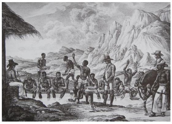 Lavagem de diamantes no Curralinho, em 1818