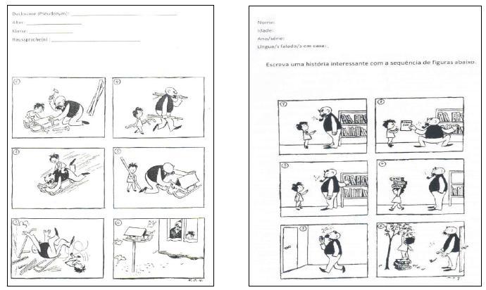 Propostas de produção das narrativas com sequência de imagens