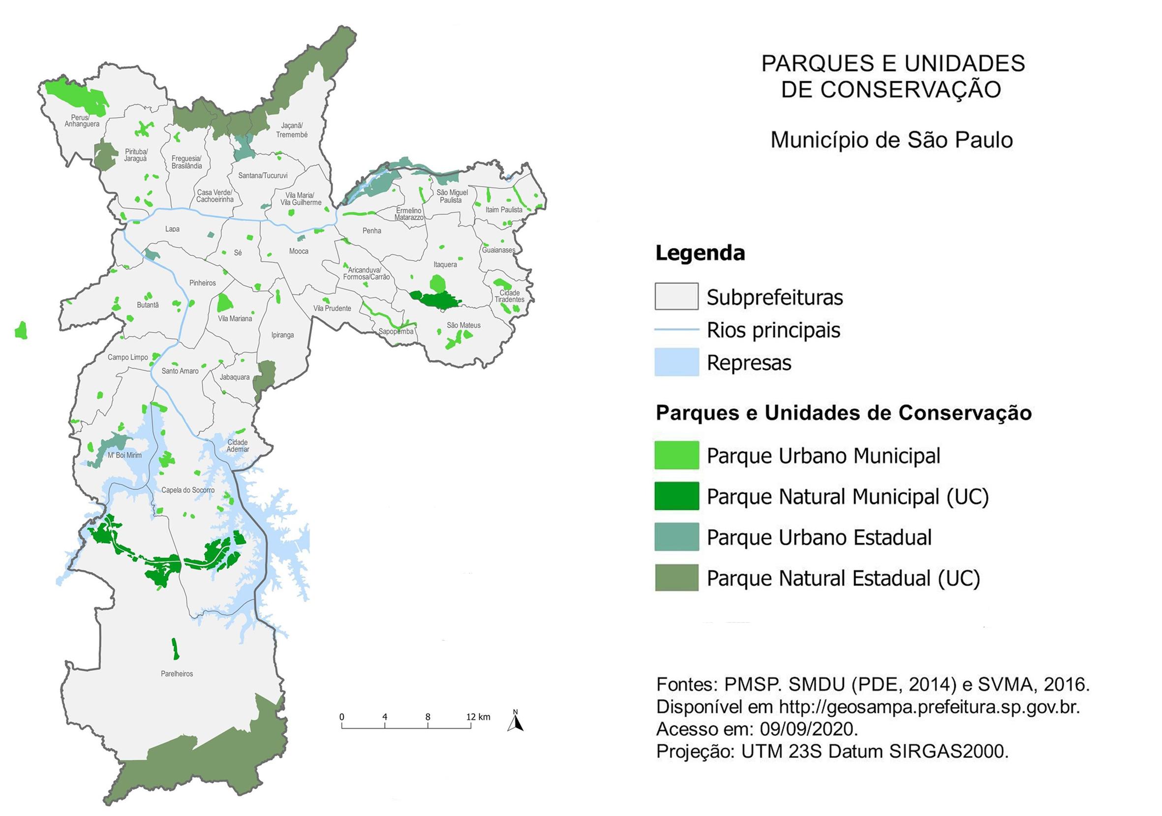Mapa dos Parques e Unidades de Conservação do Município de Sõo Paulo