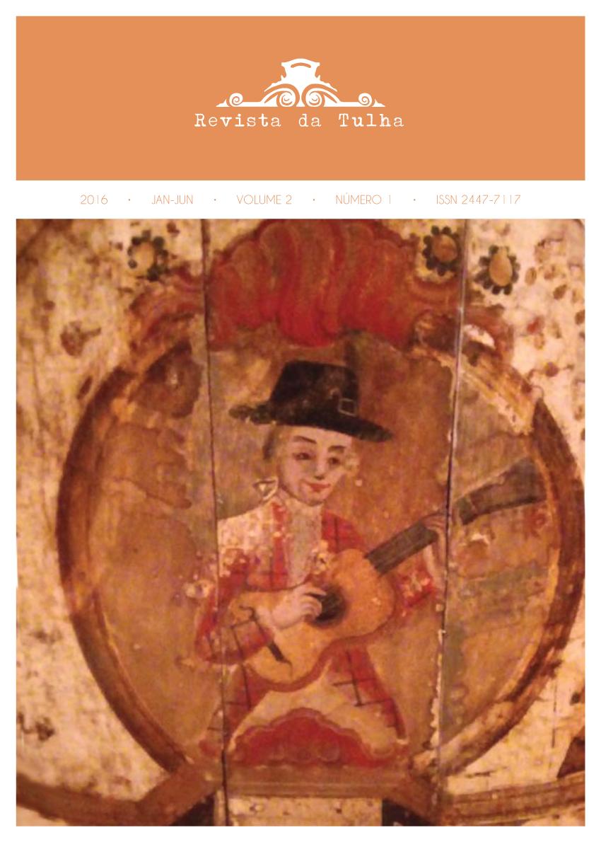 Imagem: Teto residencial do século XVIII originário de Diamantina (DM), representando os cinco sentidos (o violeiro representa o sentido da audição), exposta no Museu Regional de São João del-Rei (MG). Foto: Paulo Castagna (UNESP)