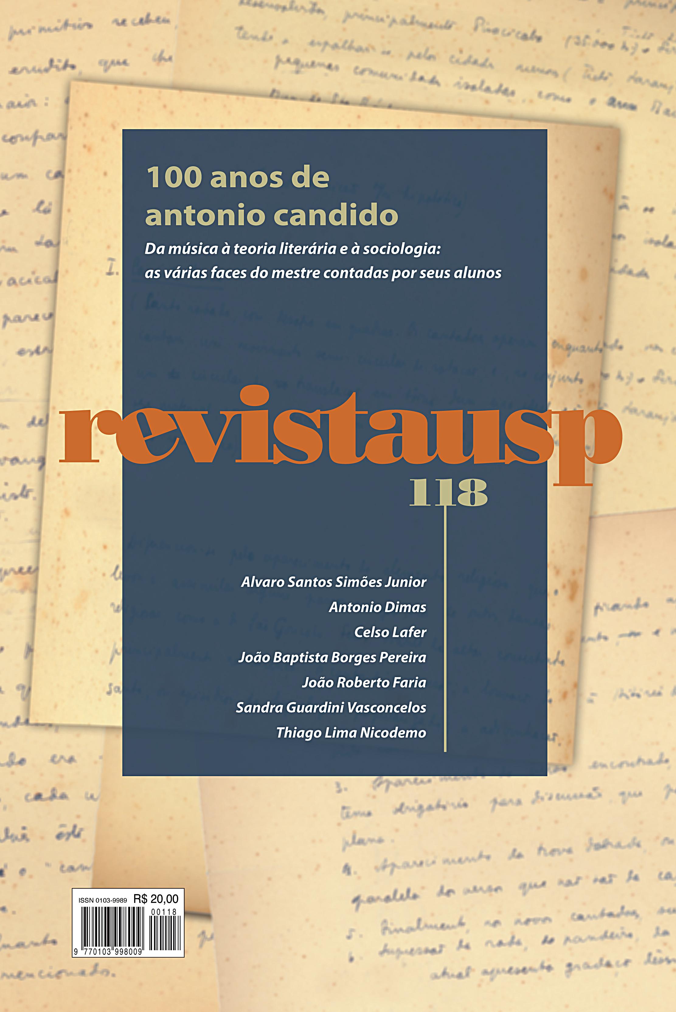 Visualizar n. 118 (2018): Dossiê 100 anos de Antônio Cândido