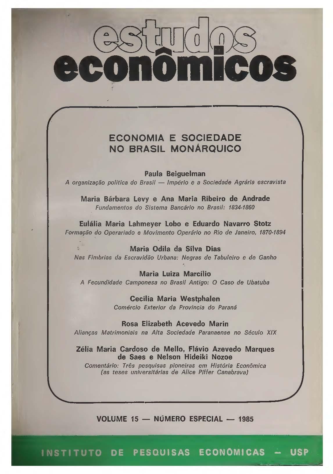 Economia e Sociedade no Brasil Monárquico
