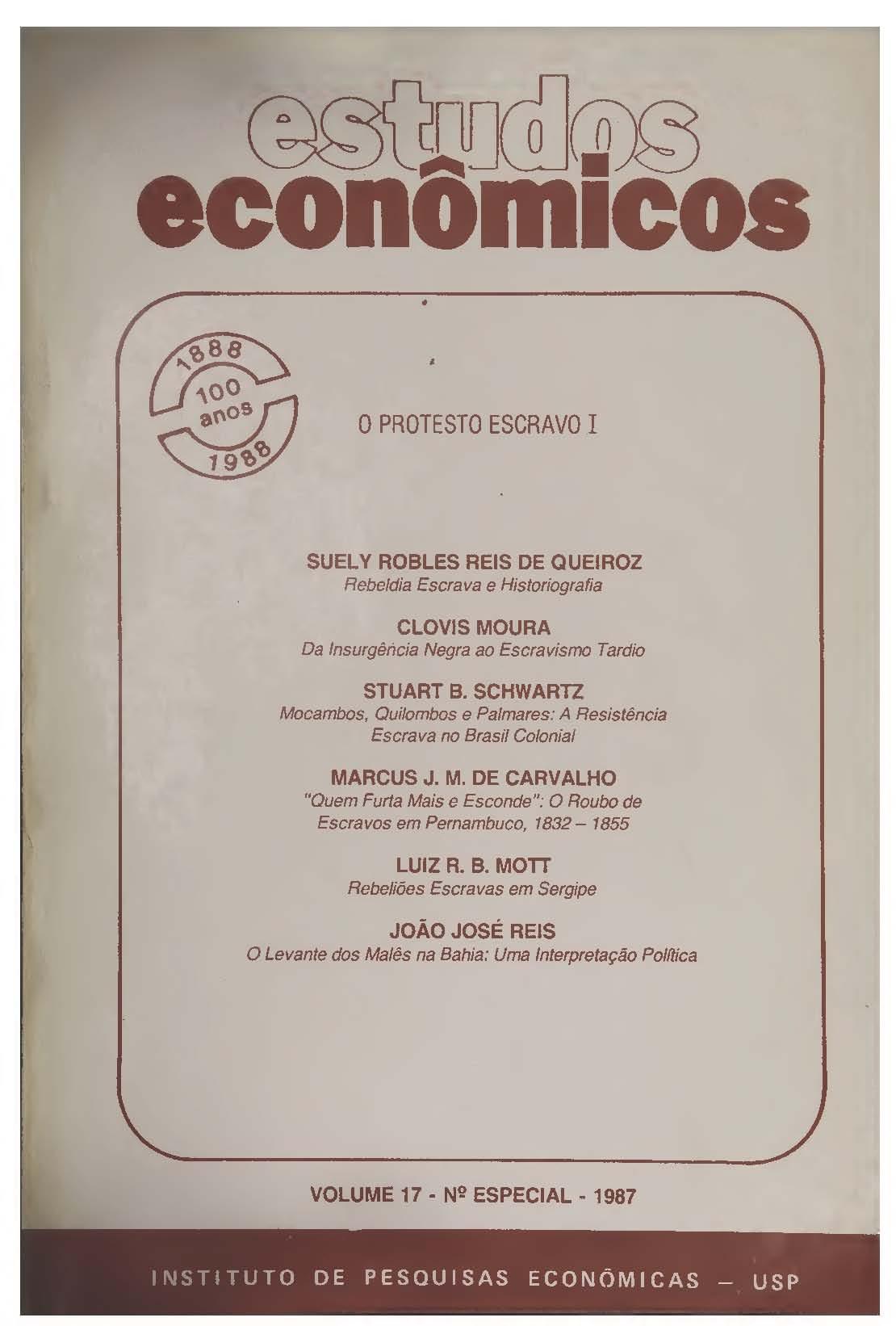 Visualizar v. 17 n. Especial (1987): O Protesto Escravo I