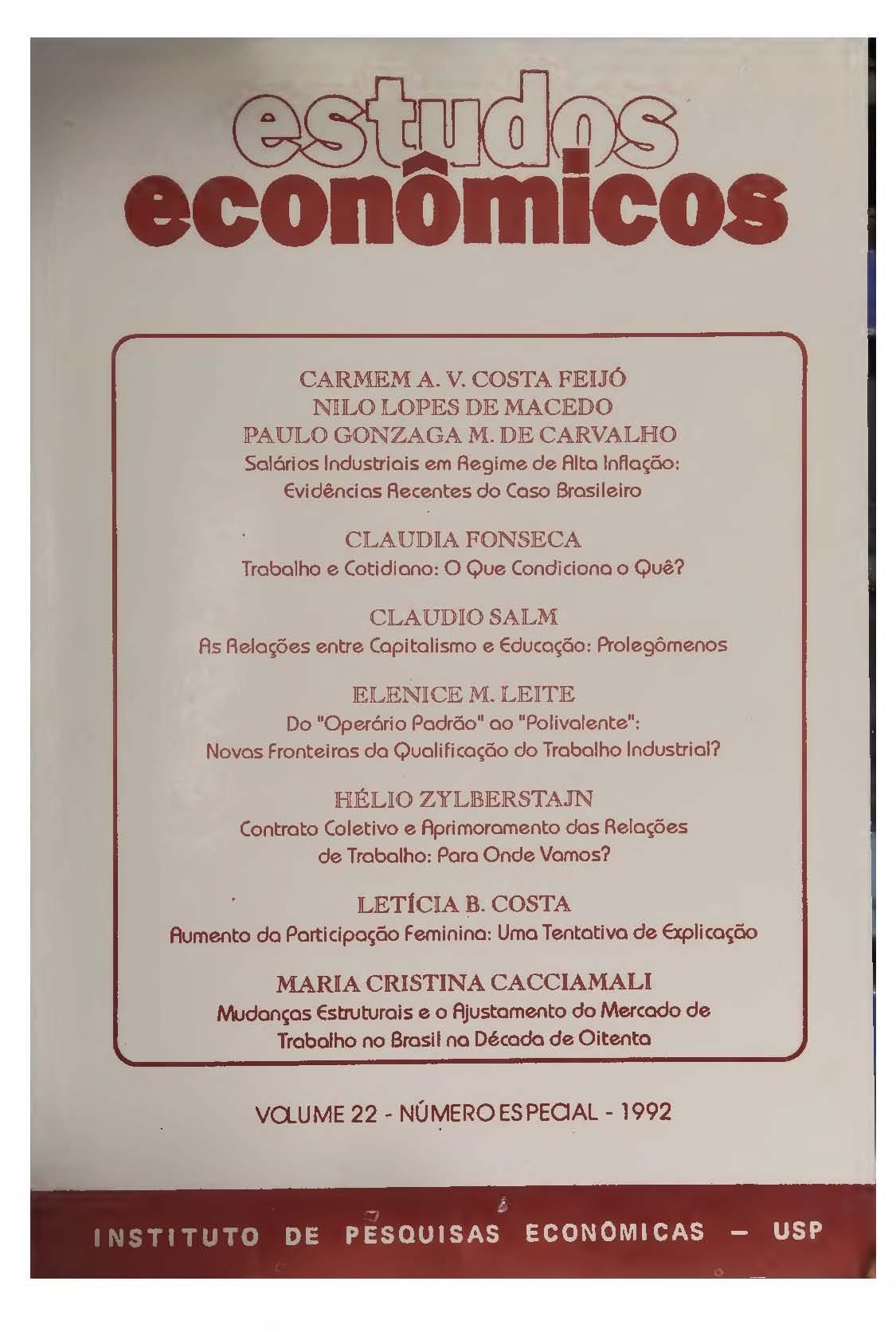Visualizar v. 22 n. Especial (1992)
