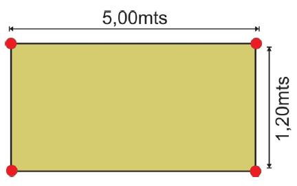 Teste de agilidade: posicionamento dos cones.