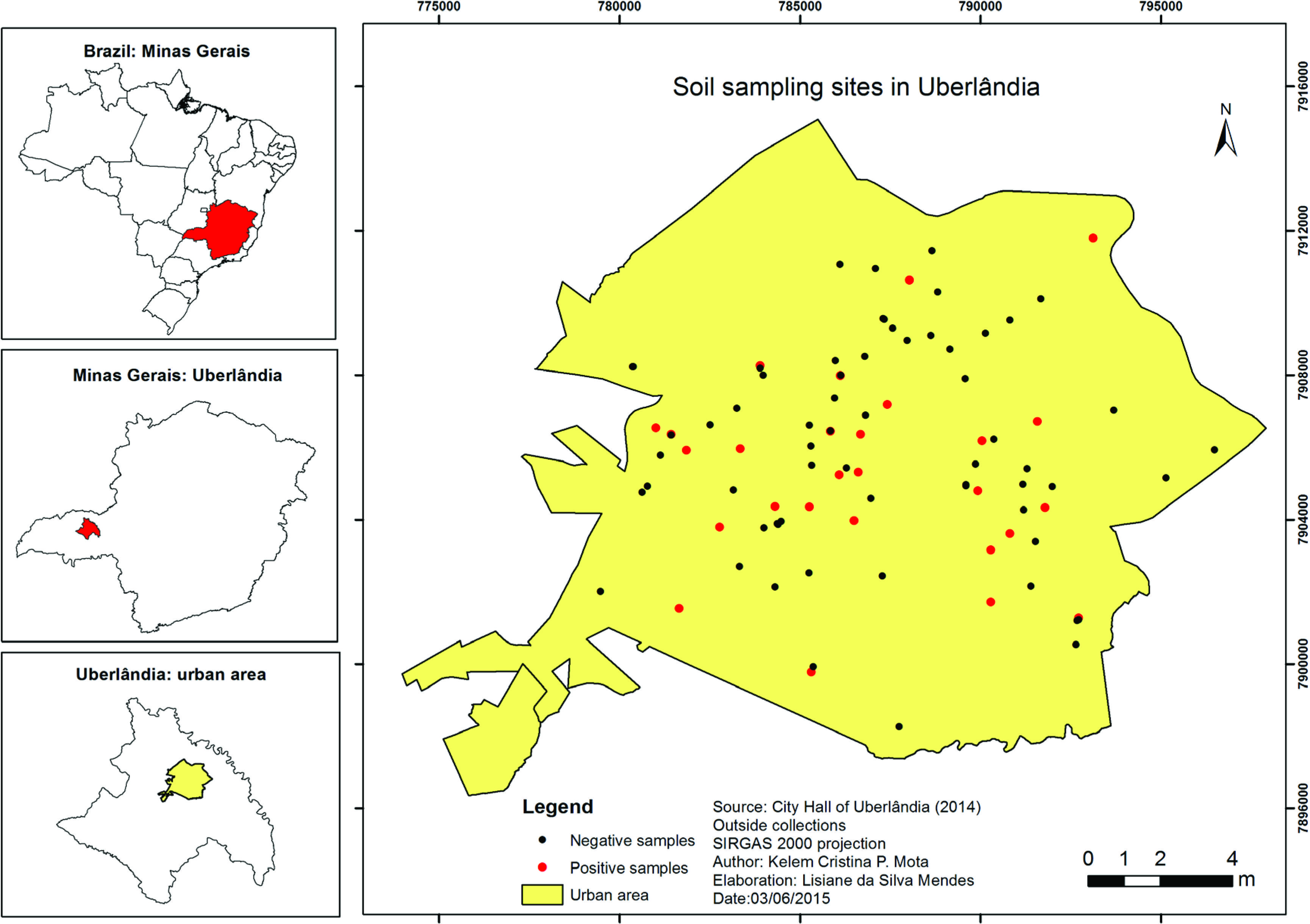 Soil sampling sites in different areas of the city of Uberlandia, MG, Brazil, in the period from January to August 2014