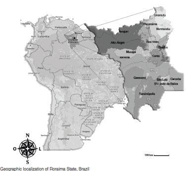 Geographic localization of Roraima State, Brazil