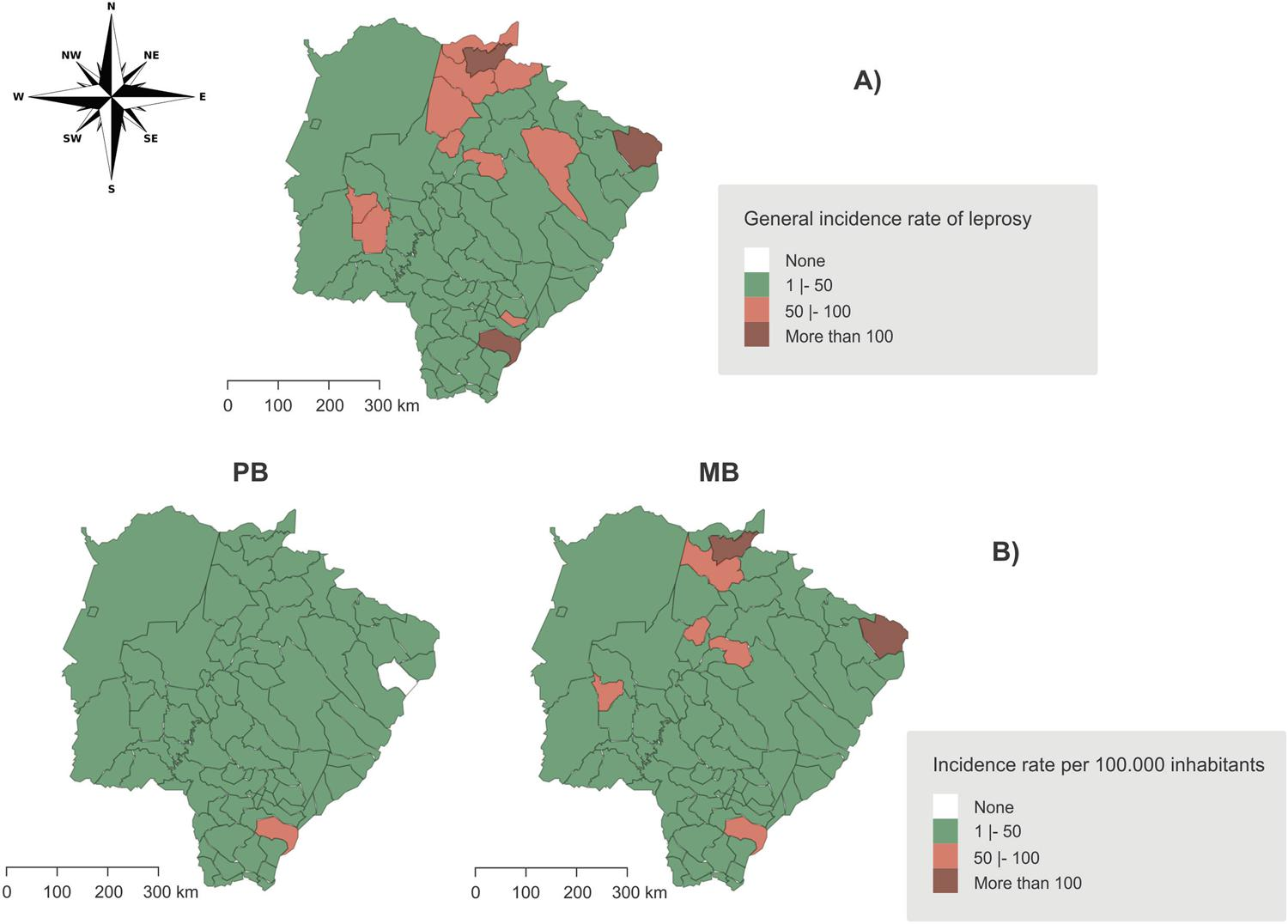 Spatial distribution of the incidence rate of leprosy in Mato Grosso do Sul State, Brazil, between 2001 and 2015. A) General incidence of leprosy. B) Paucibacillary and multibacillary leprosy incidence. PB: paucibacillary leprosy; MB: multibacillary leprosy.