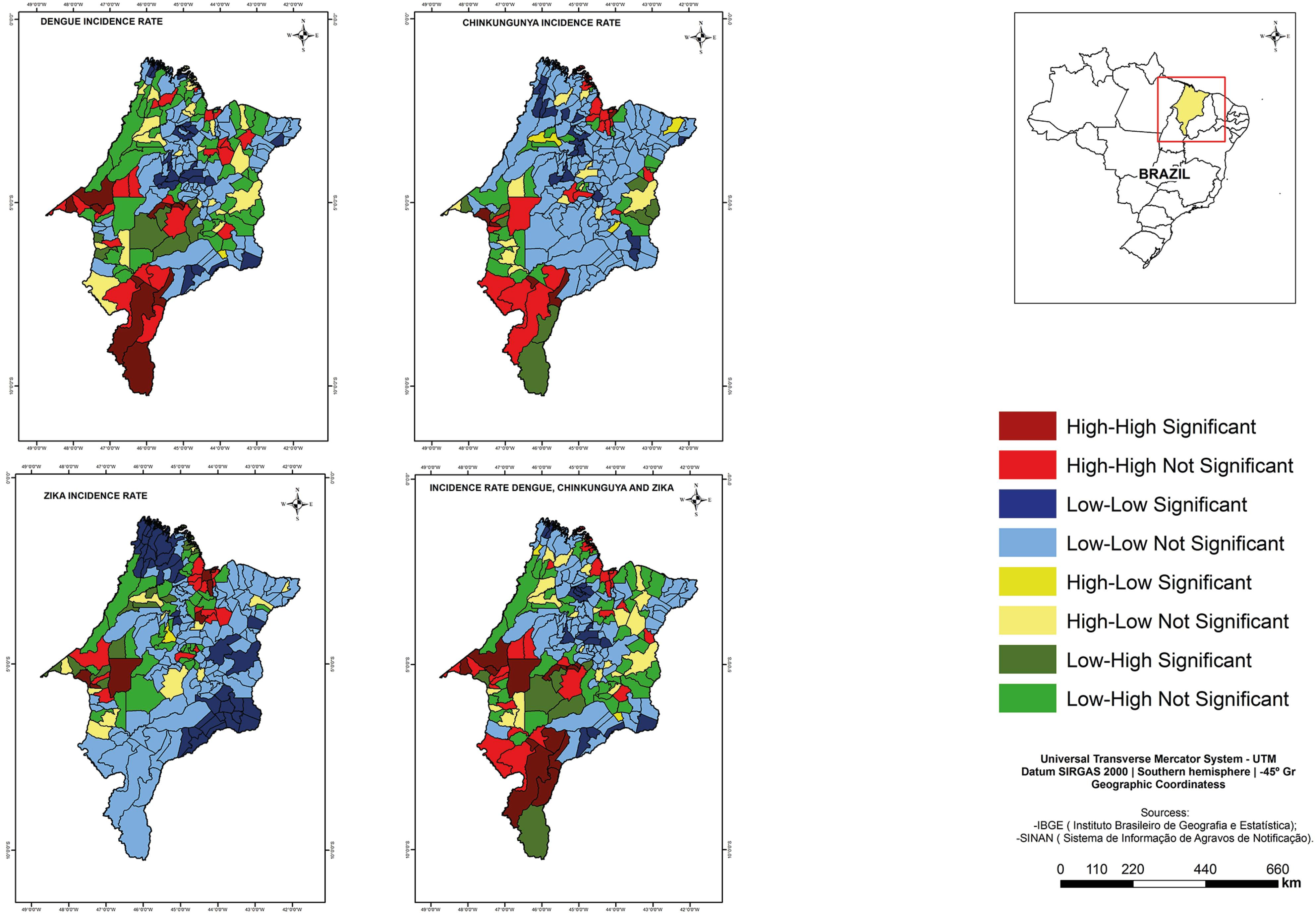Lisa Cluster Map incidence rates of dengue fever, chikungunya fever and zika virus infections and incidence rates of dengue, chikungunya, and zika. Maranhao, 2015-2016.