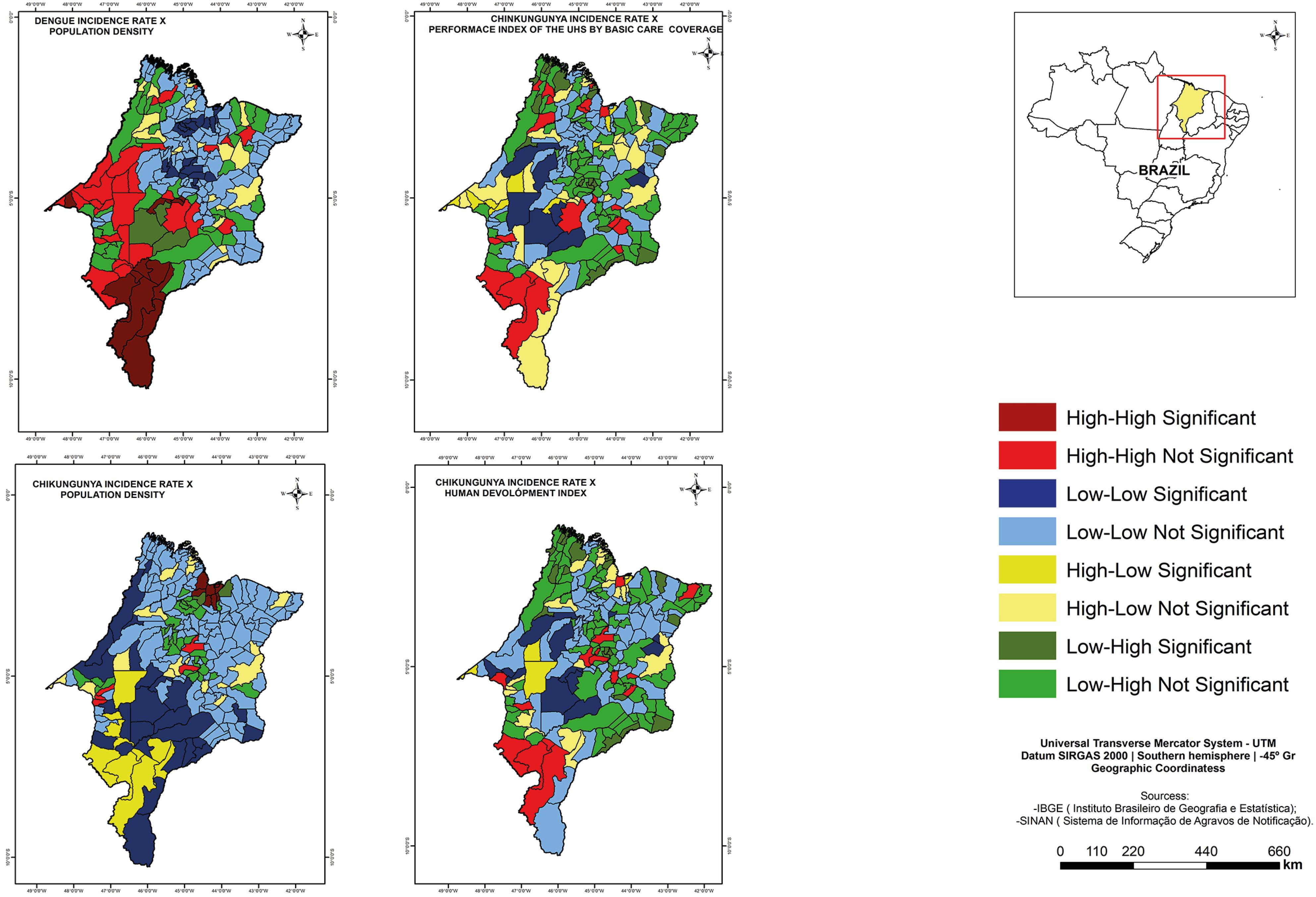 Lisa Cluster Map of the spatial correlations between the dengue fever incidence rate and the population density, as well as Performance Index of Unified Health System by basic care coverage between the chikungunya fever incidence rate, the population density and Municipal Human Development Index. Maranhao, 2015-2016.
