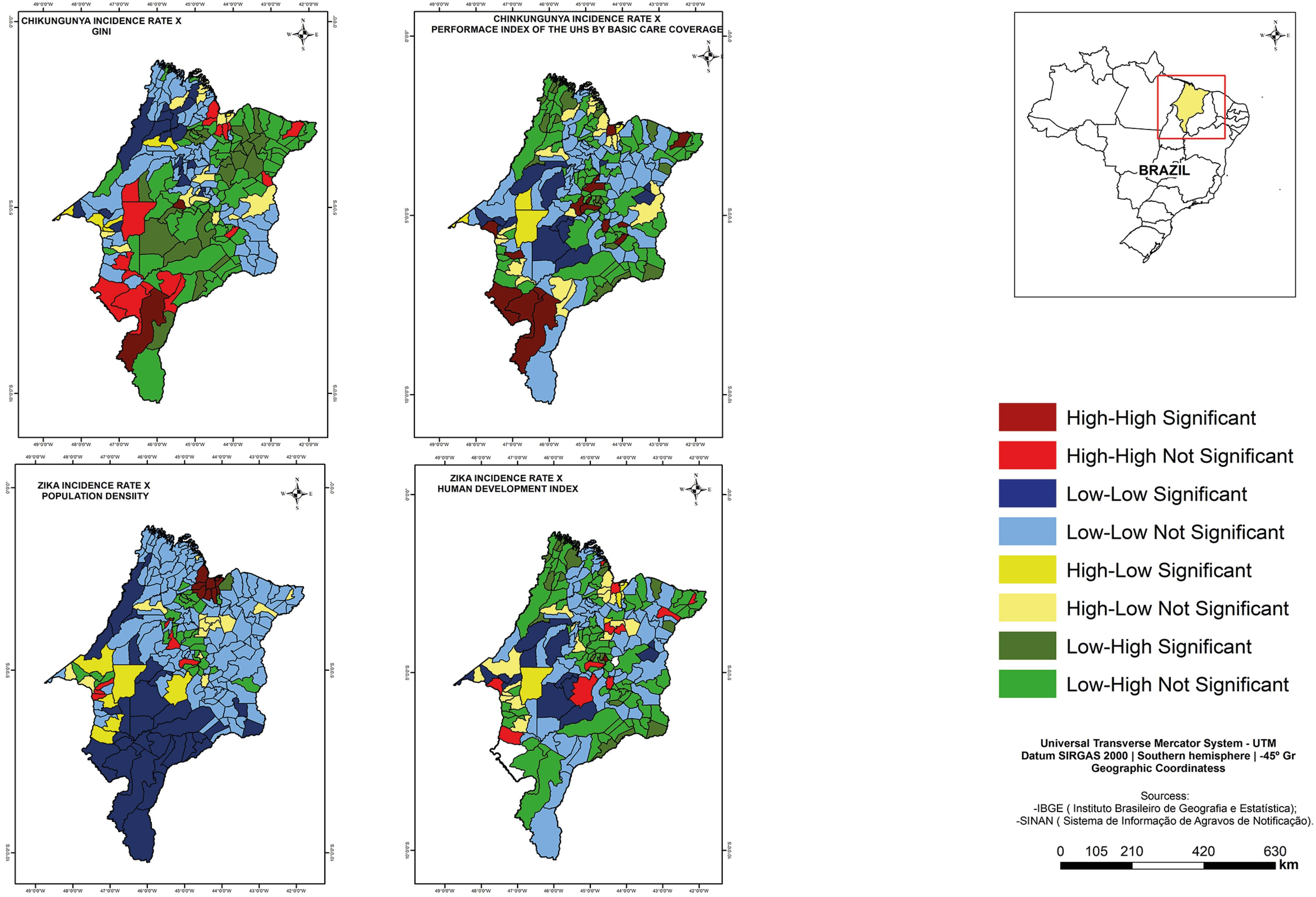 Lisa Cluster Map of the spatial correlations between the chikungunya fever incidence rate, Gini Index and Performance Index of Unified Health System by basic care coverage between the zika virus infections incidence rate, the population density and Municipal Human Development Index. Maranhao, 2015-2016.