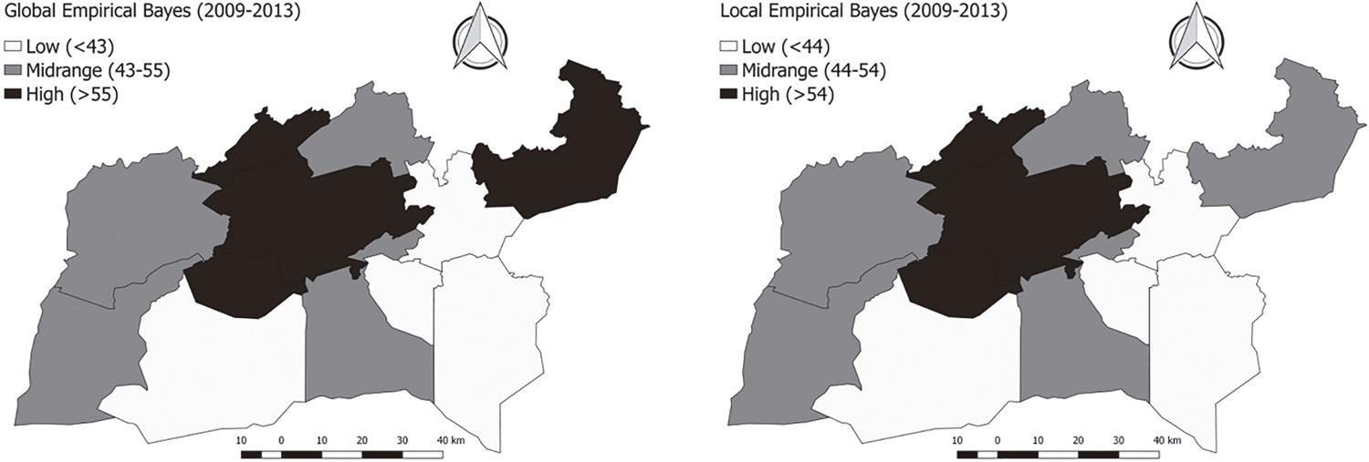 Maps of global and local Bayesian estimates of the triatomine dispersion rates for the average period 2009-2013, in the 13 municipalities that form the 20th Regional Health Coordination (CRES) of the Ceara State.