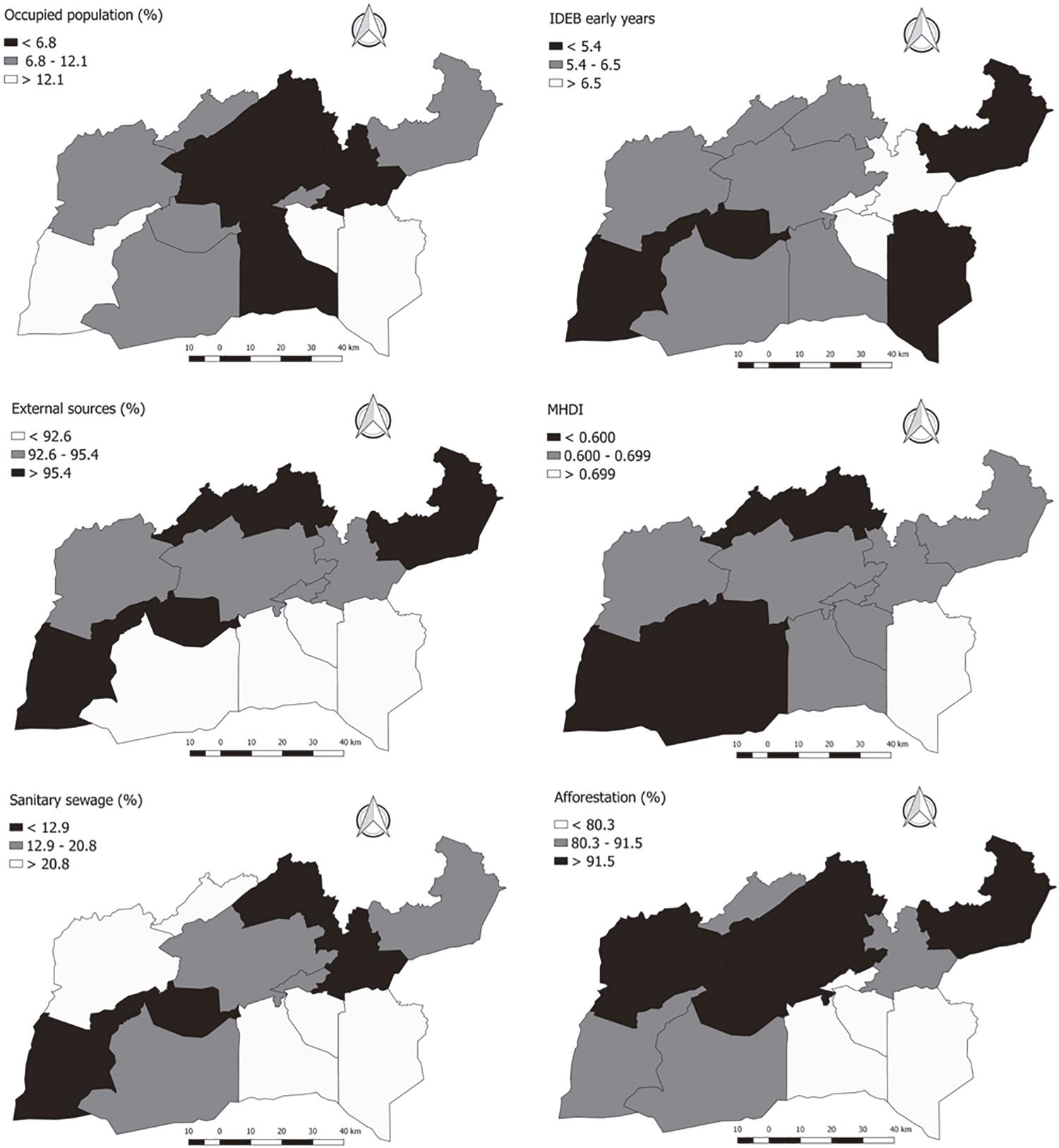 Maps of occupied population; IDEB score in the early years; revenues from external sources; MHDI; sanitary sewage and afforestation, according to IBGE, for the 13 municipalities that form the 20th Regional Health Coordination (CRES) of the Ceara State.