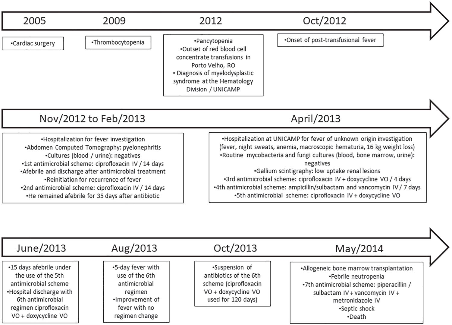 Timeline illustrating the patient's medical history.