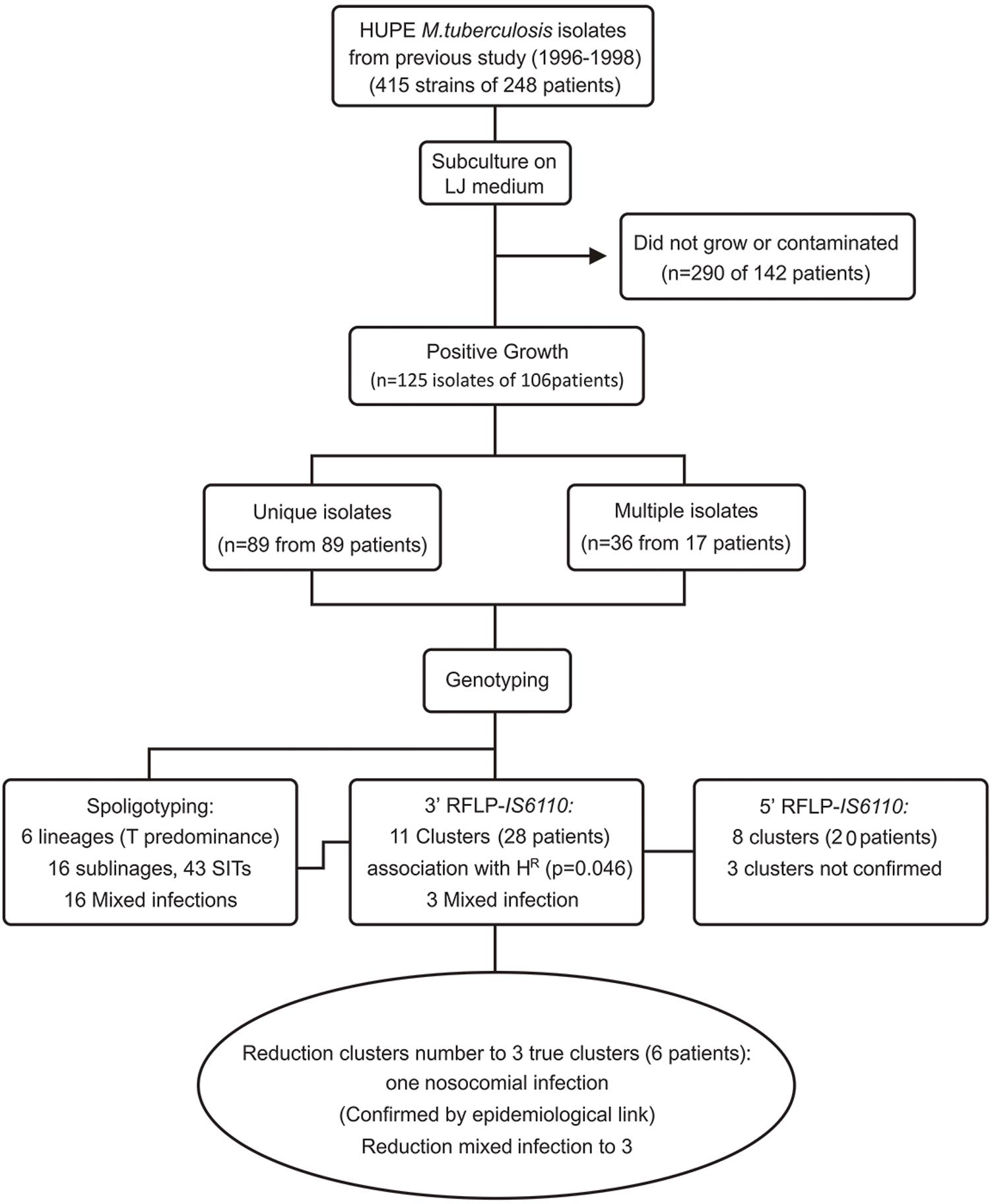 Flowchart on the recovery of M. tuberculosis isolates of TB patients attended at the tertiary Pedro Ernesto University Hospital, Rio de Janeiro, Brazil, 1996-1998, and the main genotyping results.