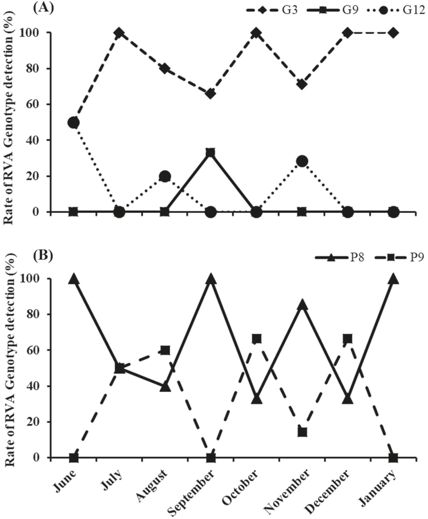 - Monthly rotavirus A genotype confirmation. Genotypes G (A) and P (B) rate distribution are depicted.
