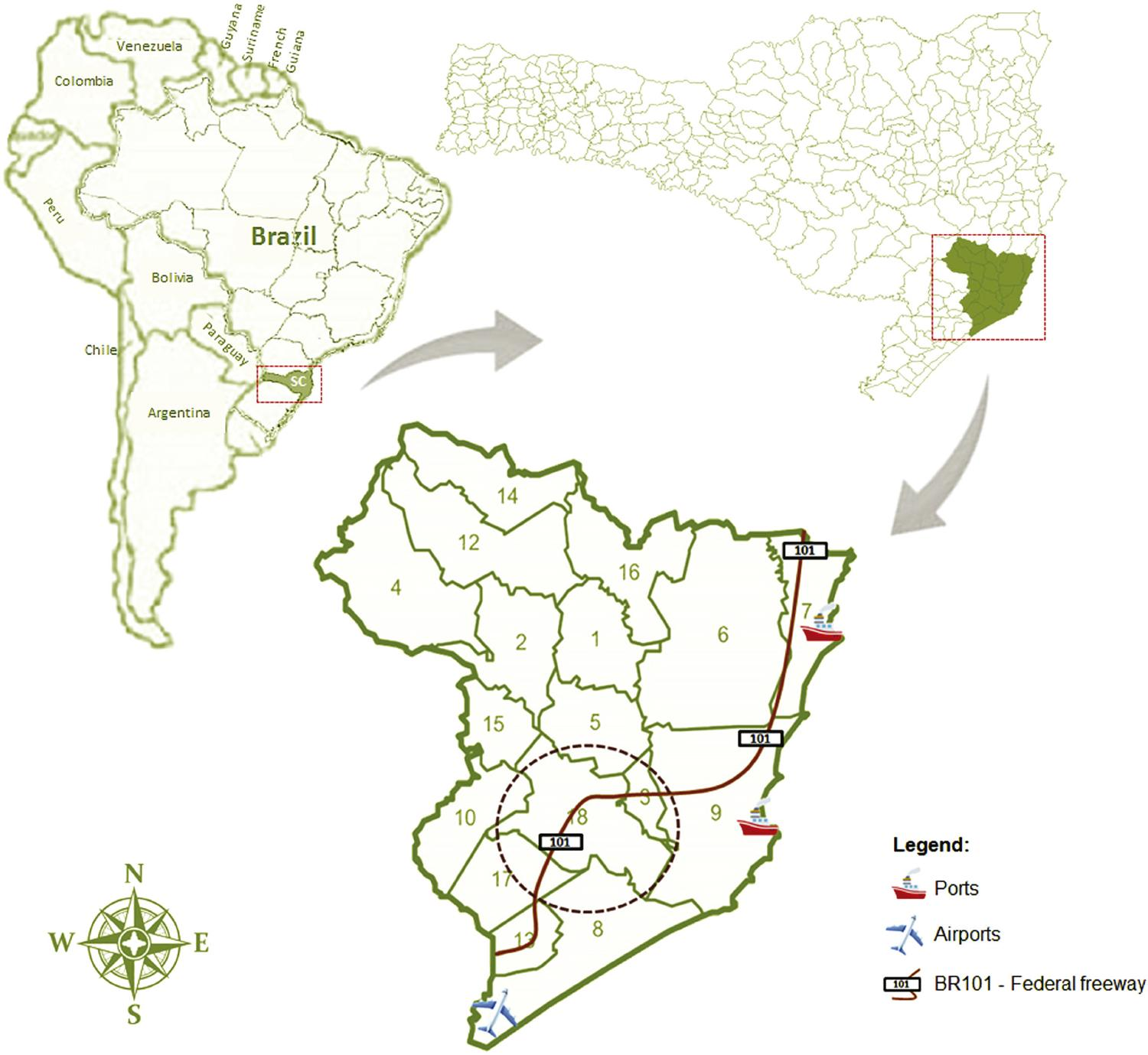 Maps of the Latin America, Brazil, and Santa Catarina State, with emphasis on the Laguna region, and the 18 municipalities from where blood samples were collected. Location of the airport, the ports [Imbituba (North) and Laguna (South)], the freeway BR101 and the municipality of Tubarao are depicted.