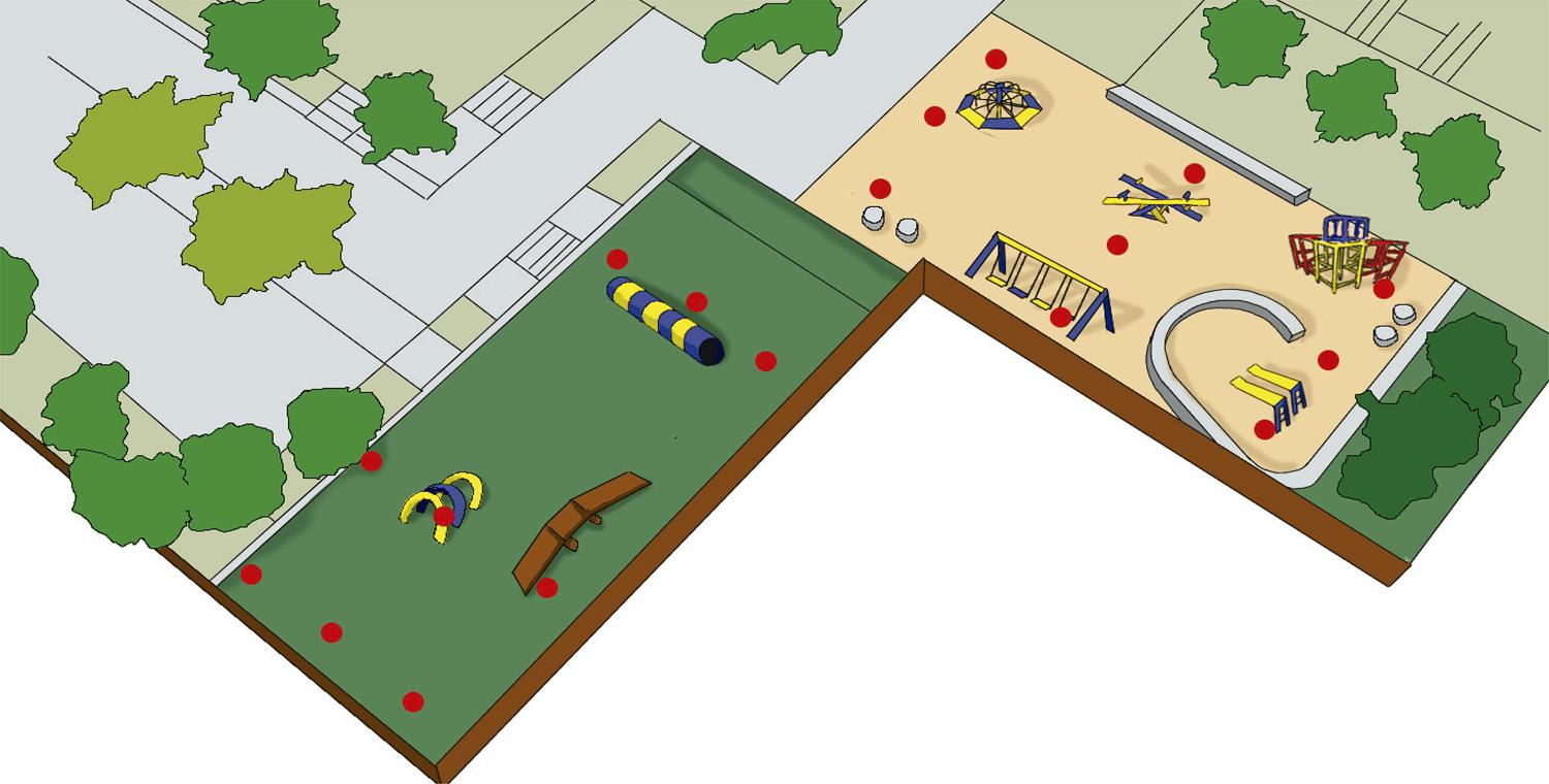 - Illustration of the park where the study was carried out. The red points show the places where the samples were taken in the children's playground and in the animal's recreation area.