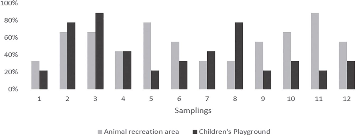 Frequency of positive samples for nematode larvae in the children's playground and in the animal's recreation area according to the sampling.