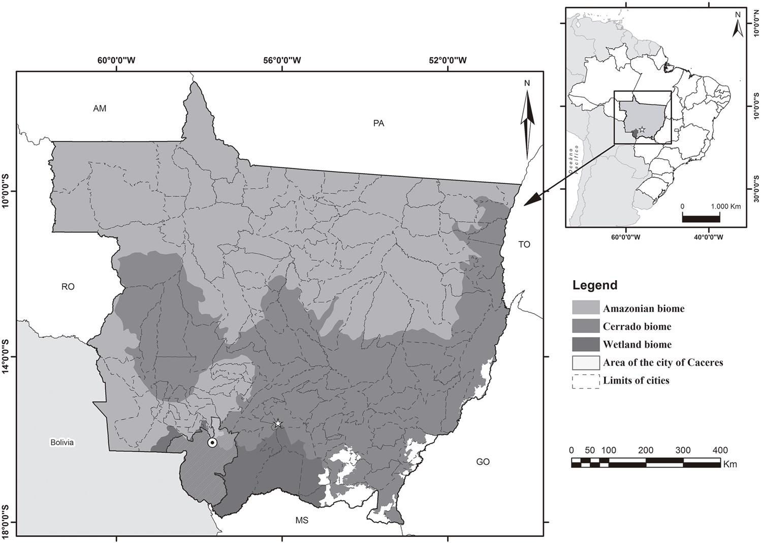 – Brazilian biomes and the geographic location of Caceres, Mato Grosso State, 2018.