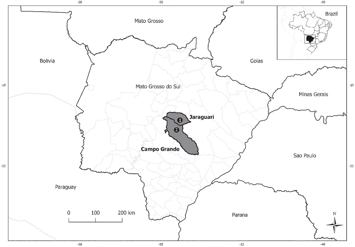 Map of the studied quilombola communities regarding hantavirus and arenavirus IgG antibodies: 1) Furnas dos Dionisios; 2) Sao Benedito.