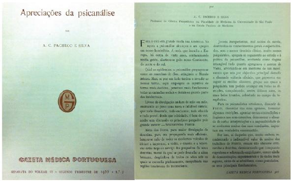 """Artigo de Pacheco e Silva: """"Apreciações da psicanálise"""""""
