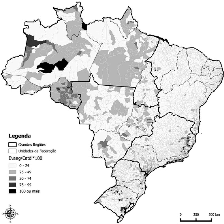 Razão de Evangélicos sobre Católicos (por 100) para os Municípios Brasileiros, 2000