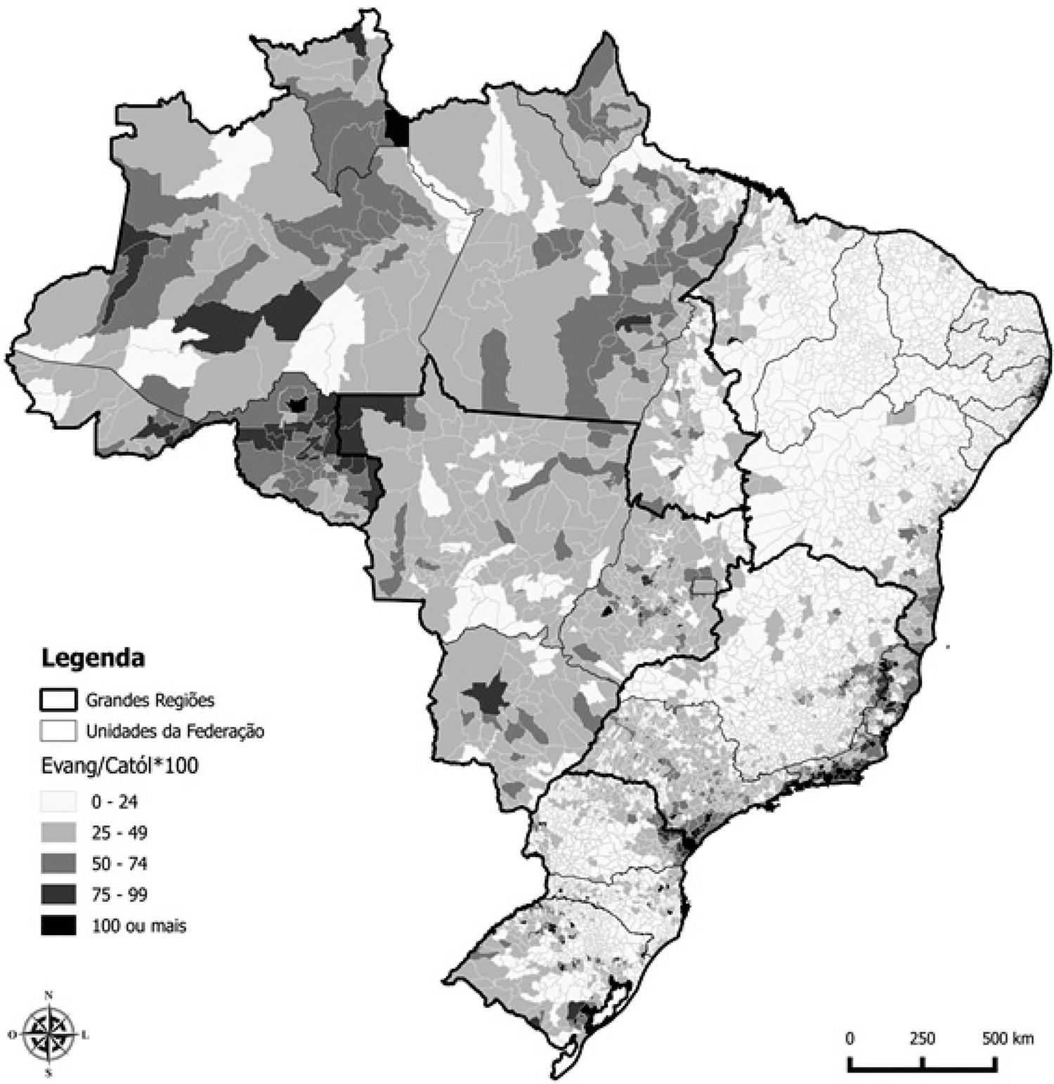 Razão de Evangélicos sobre Católicos (por 100) para os Municípios Brasileiros, 2010