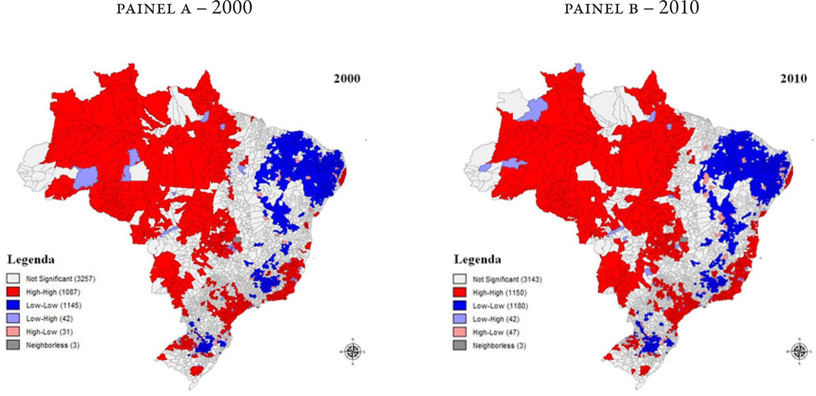 Agrupamentos de Municípios com Base na Razão Evangélicos/Católicos (Índice de Moran Local), Brasil, 2000 e 2010